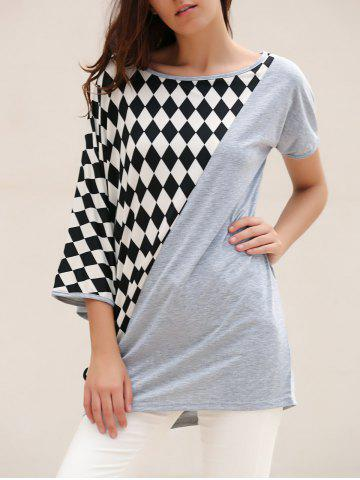 Unique Laconic Scoop Neck Rhombus Pattern Batwing Sleeve Women's T-Shirt - ONE SIZE GRAY Mobile