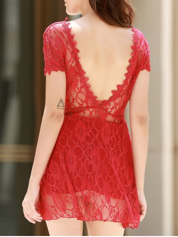 Trendy V Neck Backless Short Lace Prom Dress RED M