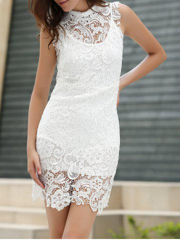 Sexy tortue cou manches solides Couleur See-Through Dress dentelle Blanc L
