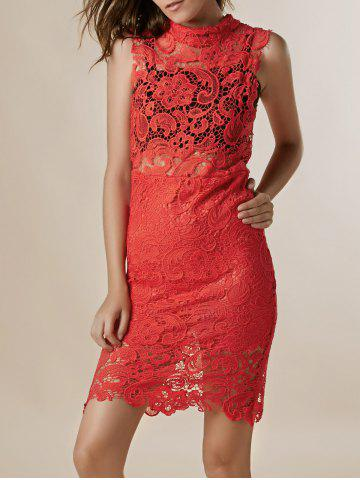 Sexy tortue cou manches solides Couleur See-Through Dress dentelle - Rouge S