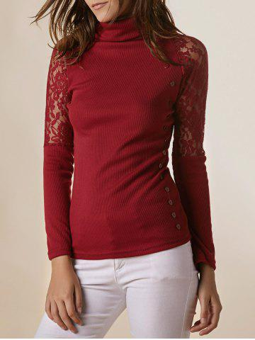 Fancy Stylish Turtleneck Long Sleeve Lace Splicing Sweater For Women