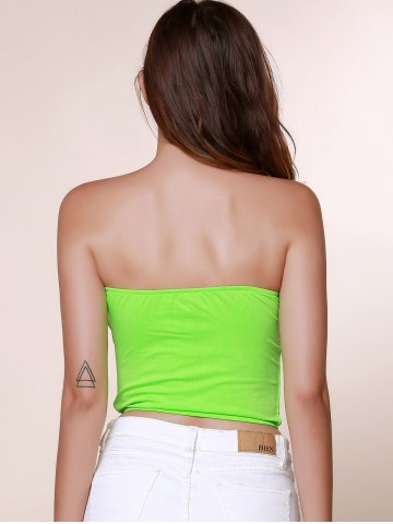 Best Stylish Strapless Sleeveless Bowknot Embellished Women's Tank Top - S GRASS GREEN Mobile