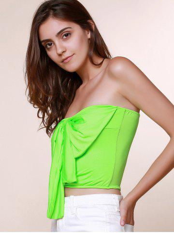 Hot Stylish Strapless Sleeveless Bowknot Embellished Women's Tank Top - S GRASS GREEN Mobile