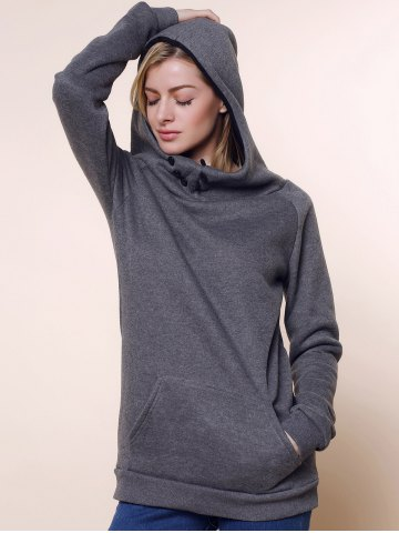 Shop Stylish Front Pockets Solid Color Long Sleeve Women's Hoodie GRAY S