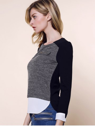 Affordable Vintage Round Collar Three Colors Matching Long Sleeves Womne's Blouse - L BLACK AND GREY Mobile