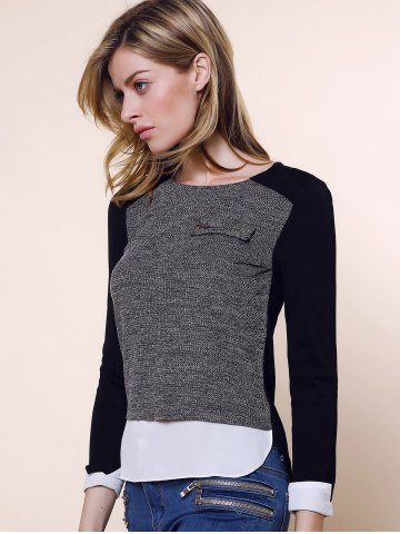 Discount Vintage Round Collar Three Colors Matching Long Sleeves Womne's Blouse - L BLACK AND GREY Mobile