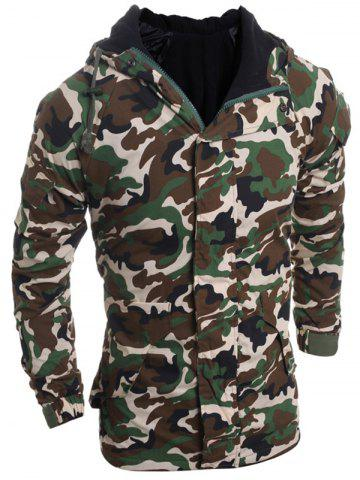 Store Modish Loose Fit Hooded Multi-Pocket Camo Pattern Long Sleeve Thicken Cotton Blend Coat For Men - XL ARMY GREEN Mobile
