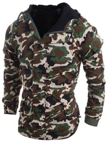 Outfit Modish Loose Fit Hooded Multi-Pocket Camo Pattern Long Sleeve Thicken Cotton Blend Coat For Men - 2XL ARMY GREEN Mobile