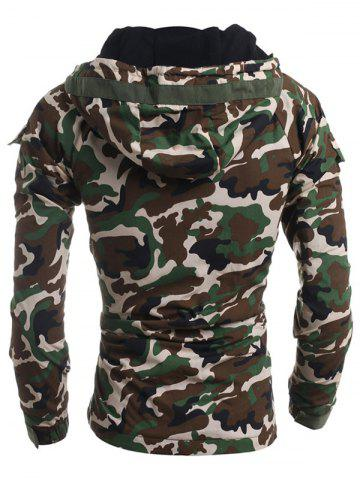 Online Modish Loose Fit Hooded Multi-Pocket Camo Pattern Long Sleeve Thicken Cotton Blend Coat For Men - 2XL ARMY GREEN Mobile