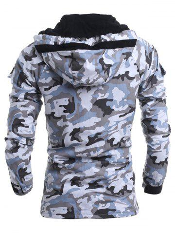 Affordable Modish Loose Fit Hooded Multi-Pocket Camo Pattern Long Sleeve Thicken Cotton Blend Coat For Men - L LIGHT GRAY Mobile