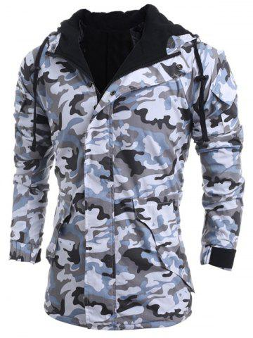 Latest Modish Loose Fit Hooded Multi-Pocket Camo Pattern Long Sleeve Thicken Cotton Blend Coat For Men - L LIGHT GRAY Mobile