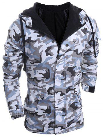 Hot Modish Loose Fit Hooded Multi-Pocket Camo Pattern Long Sleeve Thicken Cotton Blend Coat For Men LIGHT GRAY XL