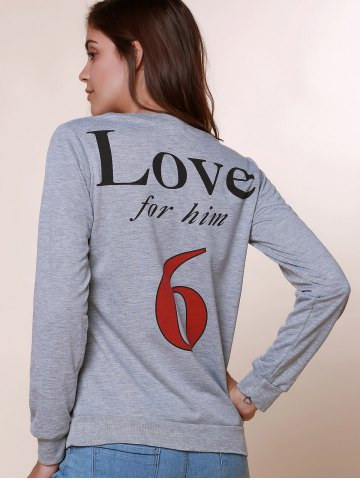 Online Sexy Long Sleeve Round Neck Hollow Out Printed Sweatshirt For Women - M GRAY Mobile