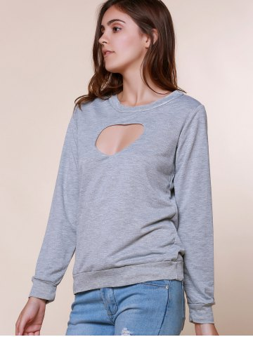 Fashion Sexy Long Sleeve Round Neck Hollow Out Printed Sweatshirt For Women - M GRAY Mobile