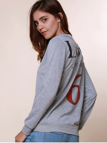 Outfit Sexy Long Sleeve Round Neck Hollow Out Printed Sweatshirt For Women - M GRAY Mobile