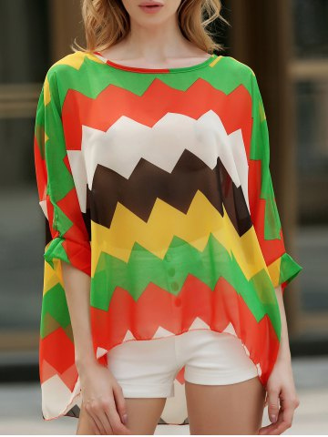 Best Casual Boat Neck Batwing Sleeve Color Block Chiffon Blouse For Women AS THE PICTURE XL