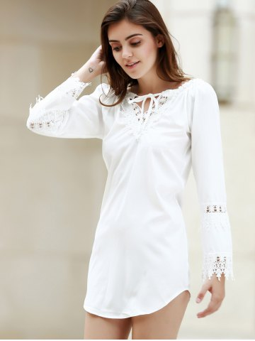 Trendy Crochet Panel Long Sleeve Casual Tunic Dress - M WHITE Mobile