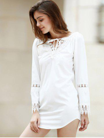 Shop Crochet Panel Long Sleeve Casual Tunic Dress - M WHITE Mobile
