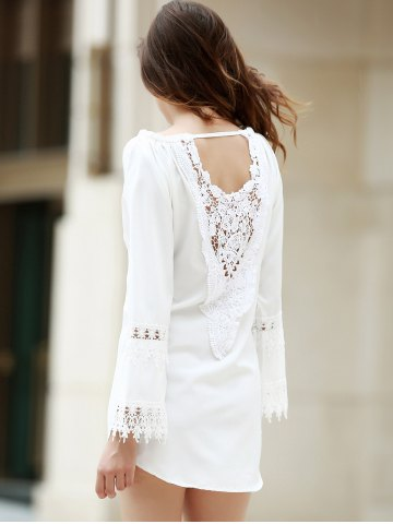 Best Crochet Panel Long Sleeve Casual Tunic Dress - M WHITE Mobile