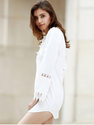 Hot Crochet Panel Long Sleeve Casual Tunic Dress - M WHITE Mobile