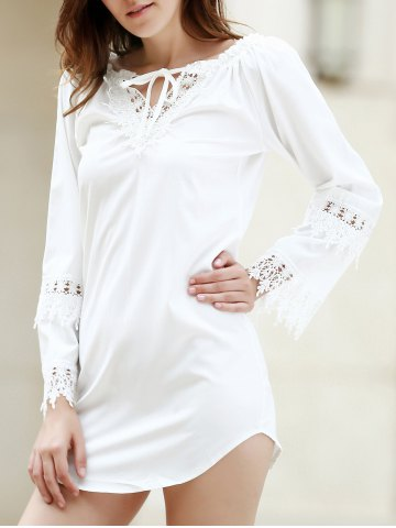 Crochet Panel Long Sleeve Casual Tunic Dress - White - L