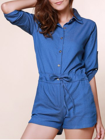 Vintage Shirt Collar Solid Color 3/4 Sleeve Lace-Up Jeans Rompers For Women - Denim Blue - Xl