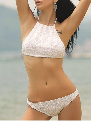 Affordable Sweet Halter Neck Solid Color Women's Bikini Set WHITE XL