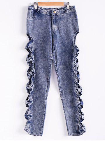Vintage Detailed Woman Side Bow Cutout Ripped Denim Sexy Jeans - Light Blue - L