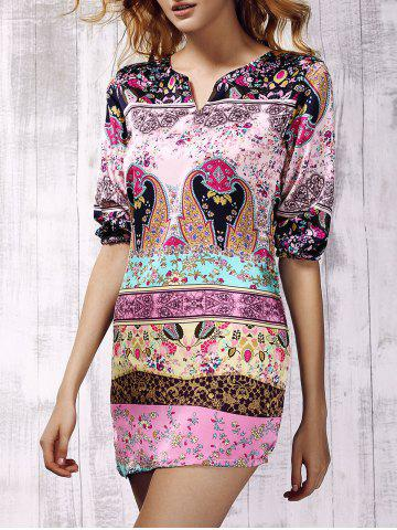 Latest Stylish 3/4 Sleeve Tribal Print Asymmetric Women's Dress