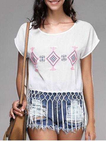 Outfit Fashionable Short Sleeve Embroidery Fringed Women's T-Shirt