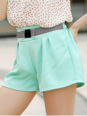 Outfit Elegant Bowknot Embellished Solid Color High-Waisted Chino Shorts - M WATER BLUE Mobile