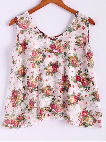 Outfit Floral Print Flowy Tank Top - ONE SIZE APRICOT Mobile