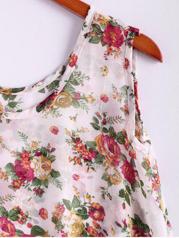 Online Floral Print Flowy Tank Top - ONE SIZE APRICOT Mobile