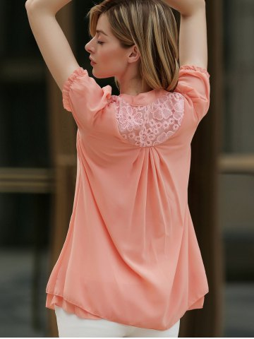 Outfit Stand Collar Short Sleeves Lace Splicing Solid Color Sweet Style Chiffon Women's Blouse - S ORANGEPINK Mobile