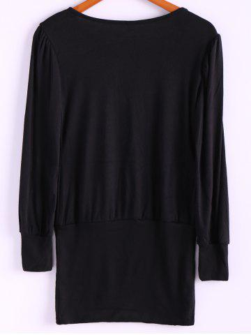 Online Simple Scoop Neck Solid Color Puff Long Sleeve Cotton Women's Dress With Side Button - ONE SIZE BLACK Mobile