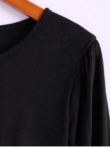 Buy Simple Scoop Neck Solid Color Puff Long Sleeve Cotton Women's Dress With Side Button - ONE SIZE BLACK Mobile