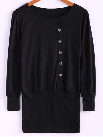 Sale Simple Scoop Neck Solid Color Puff Long Sleeve Cotton Women's Dress With Side Button BLACK ONE SIZE