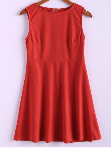 Shop Zipper Sleeveless Simple Style Polyester Round Neck Women's Dress (Without Belt) RED L