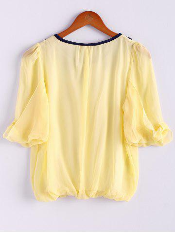 Fancy Scoop Neck 3/4 Sleeves Chiffon Color Block Sweet Style Women's Blouse - M YELLOW Mobile