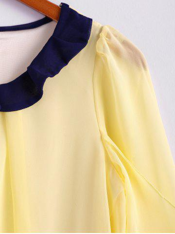 Store Scoop Neck 3/4 Sleeves Chiffon Color Block Sweet Style Women's Blouse - M YELLOW Mobile