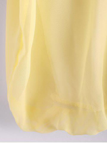 Hot Scoop Neck 3/4 Sleeves Chiffon Color Block Sweet Style Women's Blouse - M YELLOW Mobile