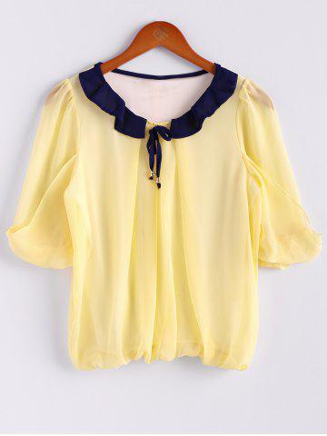 Affordable Scoop Neck 3/4 Sleeves Chiffon Color Block Sweet Style Women's Blouse - M YELLOW Mobile