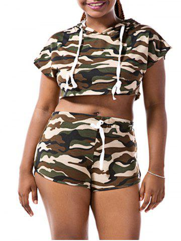 Outfit Hooded Camo Crop Top with Shorts - L CAMOUFLAGE Mobile
