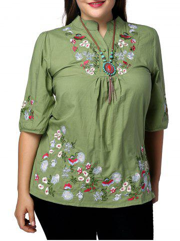 Buy Ethnic Plus Size Stand Collar Floral Embroidered Women's Blouse GREEN XL