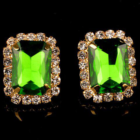Latest Pair of Vintage Rhinestone Embellished Rectangle Earrings For Women