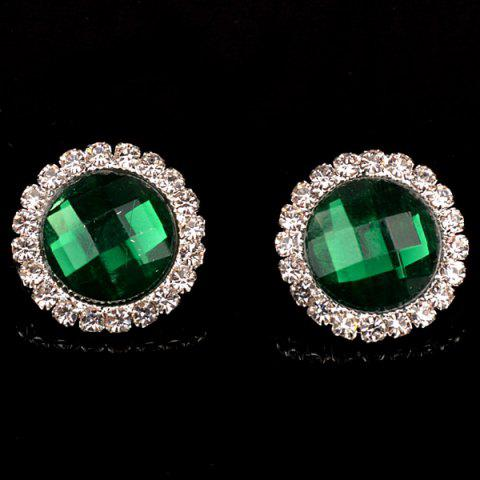 Pair of Vintage Rhinestone Embellished Round Earrings For Women - GREEN