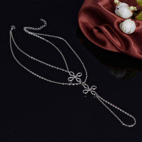 Fashion Elegant Multilayer Hollow Out Chinese Knot Anklet For Women SILVER