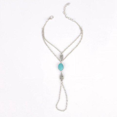 Cheap Faux Turquoise Hollow Out Flower Anklet