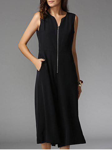 Outfits Front Zip Sleeveless Wide Leg Jumpsuit