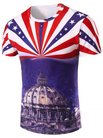 Fancy 3D Stripe and The Capitol Printed Round Neck Short Sleeve T-Shirt For Men